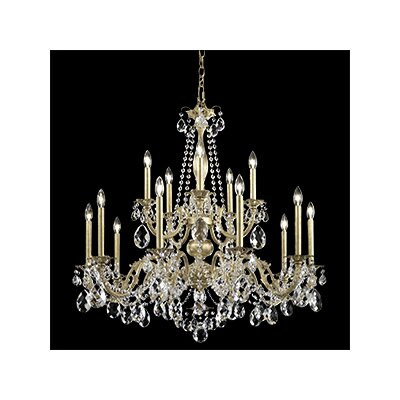 Alea 15-Light Candle-Style Chandelier Finish: Parchment Gold, Crystal Type: Heritage Clear