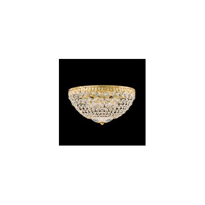 Petit 4-Light Flush Mount Finish: Silver/Strass Clear, Size: 7.5 H x 14 W x 14 D