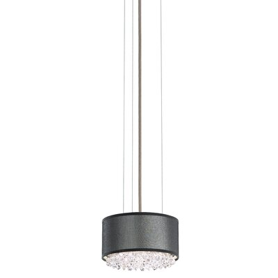 Eclyptix Drum Pendant Shade Color: Black, Size: 4 H x 19.5 W x 19.5 D, Crystal: Clear Heritage