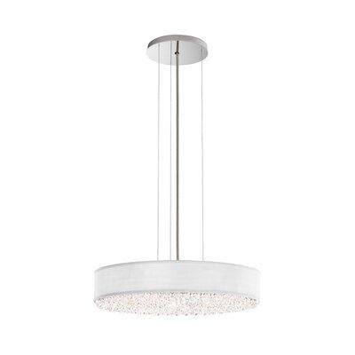 Eclyptix 6-Light Drum Pendant Crystal: Swarovski, Shade Color: White, Size: 4 H x 19.5 W x 19.5 D