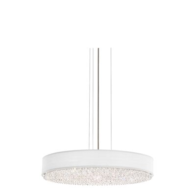 Eclyptix 6-Light Drum Pendant Crystal: Clear Heritage, Shade Color: White, Size: 4 H x 24 W x 24 D