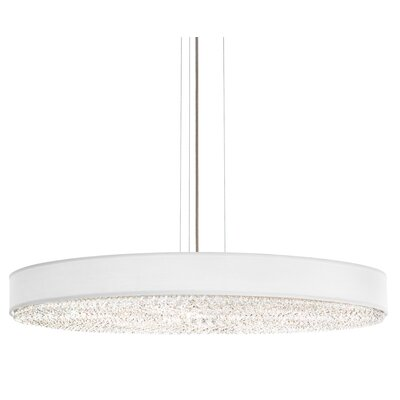 Eclyptix 6-Light Drum Pendant Size: 4.5 H x 40 W x 40 D, Shade Color: White, Crystal: Clear Spectra