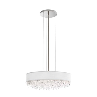 Eclyptix 2-Light Drum Pendant Shade Color: White, Size: 6.5 H x 19.5 W x 19.5 D, Crystal: Clear Spectra