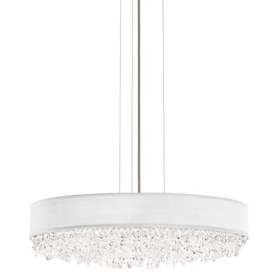 Eclyptix 2-Light Drum Pendant Shade Color: White, Size: 6.5 H x 29 W x 29 D, Crystal: Clear Heritage