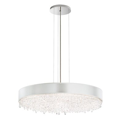 Eclyptix 2-Light Drum Pendant Crystal: Swarovski, Shade Color: Silver, Size: 6.5 H x 24 W x 24 D