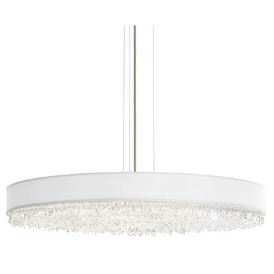Eclyptix 2-Light Drum Pendant Shade Color: White, Size: 7.5 H x 40 W x 40 D, Crystal: Clear Spectra
