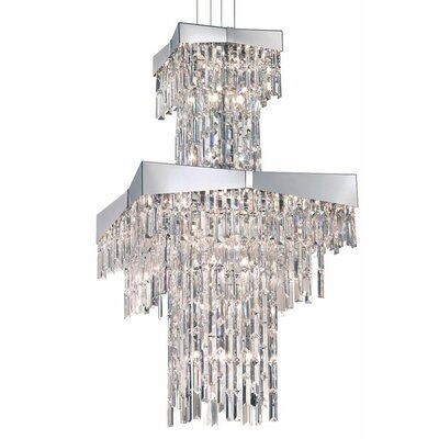 Riviera 24-Light Crystal Chandelier Finish: Stainless Steel, Crystal: Clear Spectra