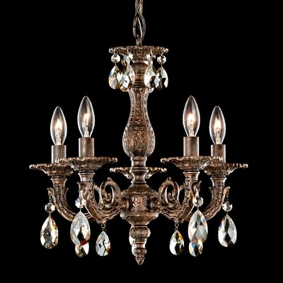 Milano 5-Light Candle-Style Chandelier Finish: Parchment Bronze, Crystal Color: Clear
