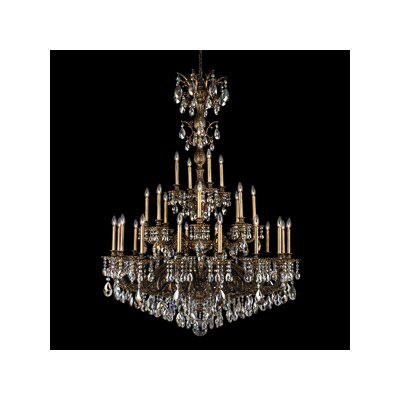 Milano 28-Light Candle-Style Chandelier Finish: Heirloom Bronze, Crystal Color: Optic
