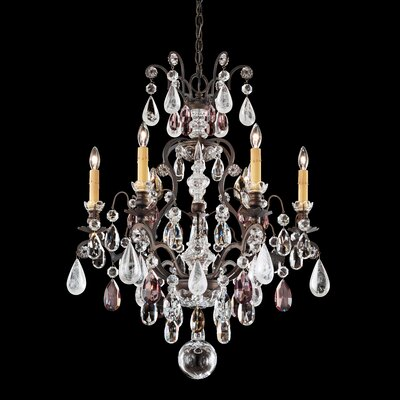 Renaissance 7-Light Crystal Chandelier Base Finish: Antique Silver, Crystal Color: Olivine and Smoke Rock