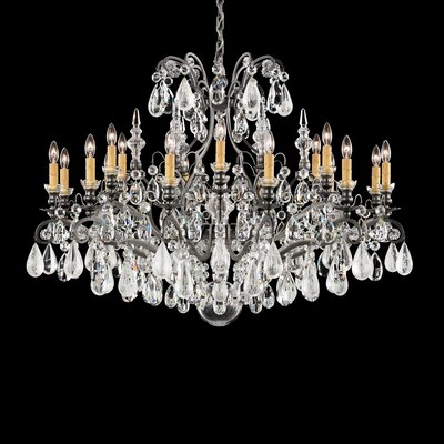Renaissance 18-Light Candle-Style Chandelier Finish: Antique Silver, Crystal: Clear Rock