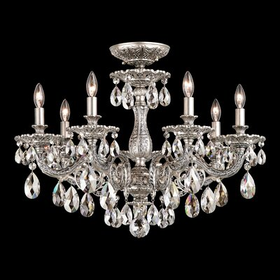 Milano 7-Light Semi Flush Mount Base Finish: Etruscan Gold, Crystal Grade: Silver Shade from Swarovski
