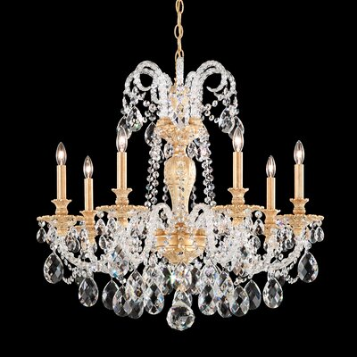 Isabelle 7-Light Candle-Style Chandelier Crystal Grade: Clear Optic , Finish: Etruscan Gold