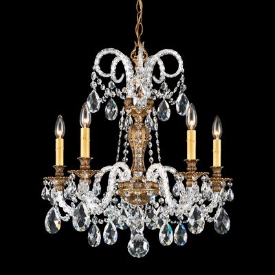 Isabelle 5-Light Candle-Style Chandelier Crystal Grade: Golden Shadow from Swarovski, Base Finish: Etruscan Gold