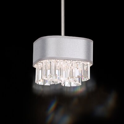 Zeppa 2-Light Geometric Pendant Shade Color: Silver, Crystal: Spectra Crystal Clear