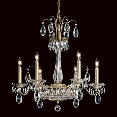 Fontana Luce 6-Light Crystal Chandelier Finish: French Gold