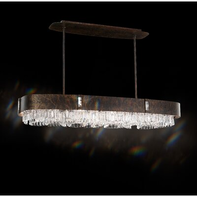 Zeppa Rectangle Kitchen Island Pendant Finish: Ferro Black, Crystal: Spectra Crystal Clear