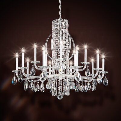 Sarella 15-Light Candle-Style Chandelier Finish: Antique Silver, Crystal: Swarovski Clear Crystal