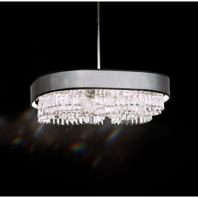 Zeppa 24-Light Kitchen Island Pendant Shade Color: Black, Crystal: Swarovski Clear Crystal