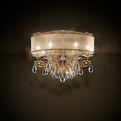 Filigrae 6-Light Flush Mount Shade Color: White, Finish: Etruscan Gold, Crystal: Heritage Clear Crystal