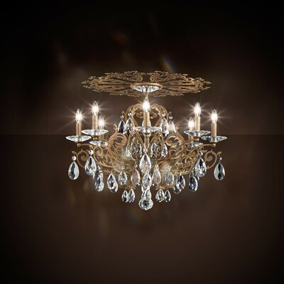 Filigrae 8-Light Flush Mount Finish: Etruscan Gold, Crystal: Spectra Crystal Clear
