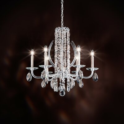 Sarella 6-Light Candle-Style Chandelier Finish: Antique Silver, Crystal: Heritage Clear Crystal