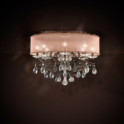 Filigrae 8-Light Flush Mount Shade Color: White, Finish: Antique Silver, Crystal: Spectra Crystal Clear