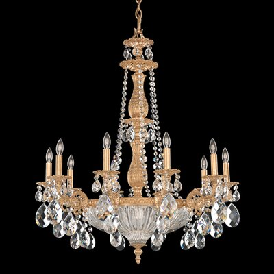 Milano 10-Light Candle-Style Chandelier Crystal Color: Silver Shade