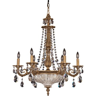 Milano 9-Light Candle-Style Chandelier Finish / Crystal Color: Parchment Gold / Spectra Clear