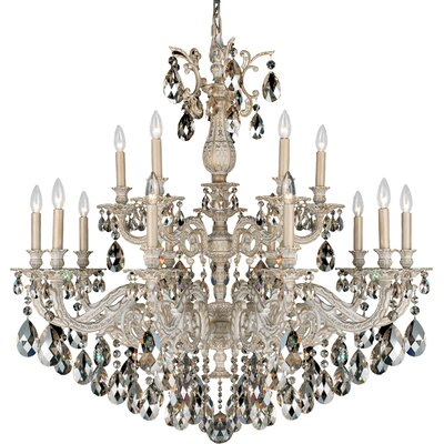 Milano 15-Light Candle-Style Chandelier Finish: Antique Silver, Crystal Color: Strass Silver Shade