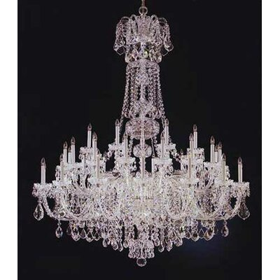 Olde World 45-Light Candle-Style Chandelier Finish: SILVER, Crystal Type: Swarovski Elements Clear