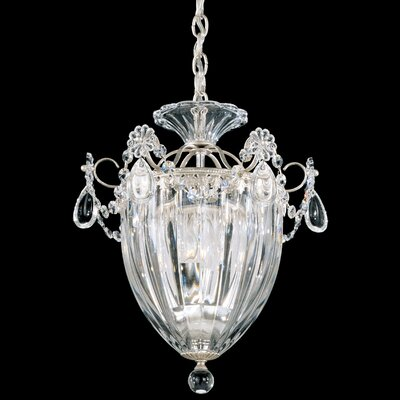 Image of Bagatelle 1 Light Pendant Size: 12.5 H Finish: Antique Silver with Handcut Crystals