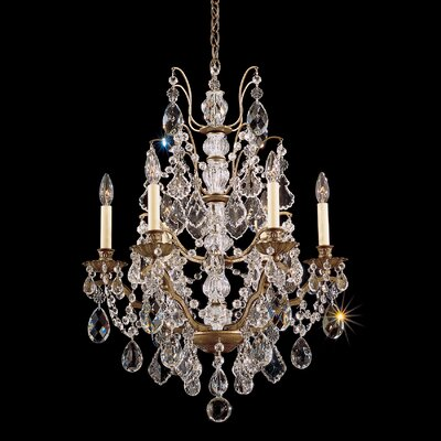 Bordeaux 6-Light Candle-Style Chandelier Finish: Textured Bronze, Crystal Color: Soft