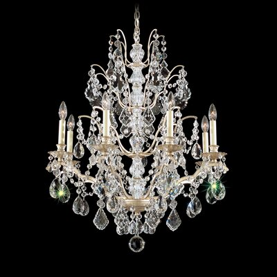 Image of Bordeaux 8 Light Chandelier Color: Antique Silver Crystal Color: Legacy Clear