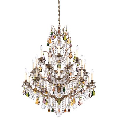 Image of Bordeaux 25 Light Chandelier Color: Antique Pewter Crystal Color: Legacy Clear