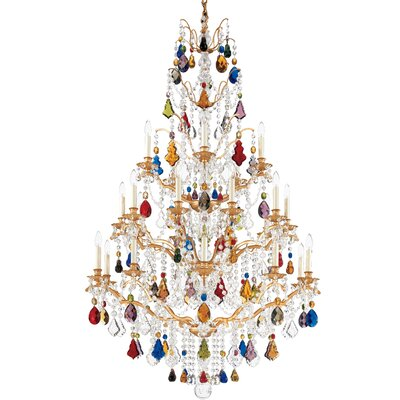 Bordeaux 25-Light Candle-Style Chandelier Color: Textured Bronze, Crystal Color: Legacy Clear