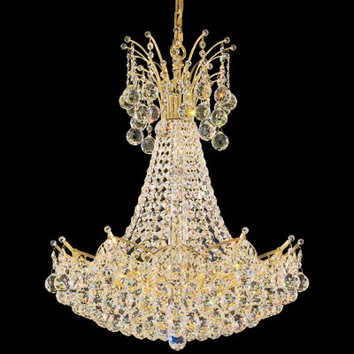 Image of Contessa 22 Light Foyer Pendant Color: Gold Crystal Color: Spectra Swarovski