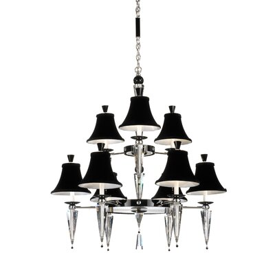 Image of Diva 9 Light Chandelier Crystal Color: Black Strass