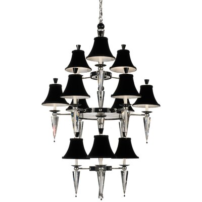 Diva 12 Light Chandelier Crystal Color: Black Strass Image