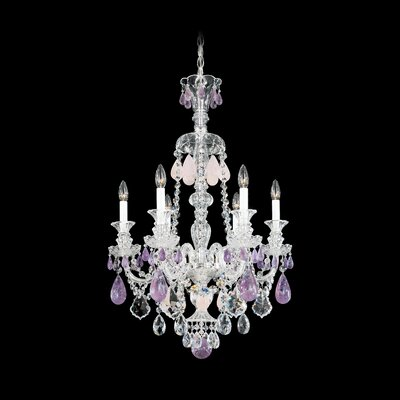 Hamilton 6-Light Candle-Style Chandelier Color / Crystal Color: Silver / Amethyst