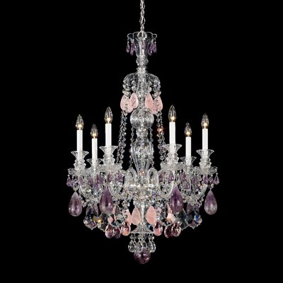 Hamilton 7-Light Candle-Style Chandelier Color / Crystal Color: Silver / Clear Rock