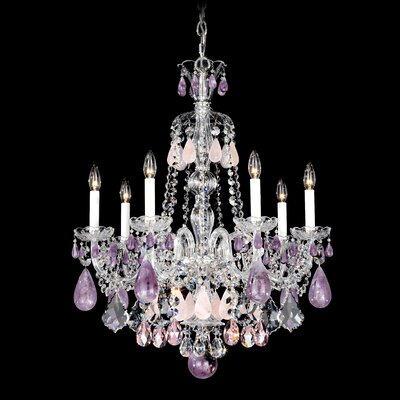 Hamilton 7-Light Candle-Style Chandelier Color / Crystal Color: Silver / Amethyst