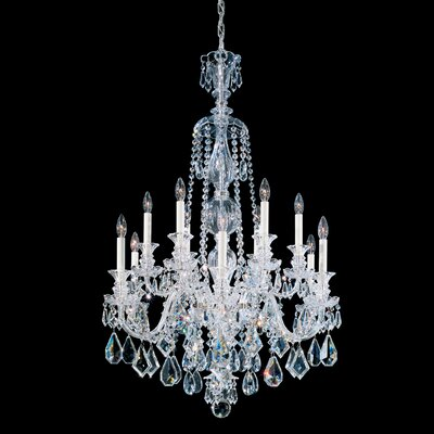 Hamilton 12-Light Candle-Style Chandelier Color / Crystal Color: Jet Black / Black