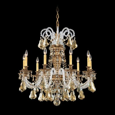 Isabelle 9-Light Candle-Style Chandelier Finish: Heirloom Bronze, Crystal Type: Swarovski Elements Golden Shadow