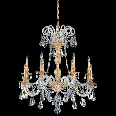 Isabelle 12-Light Crystal Chandelier Crystal Type: Optic Handcut Clear, Finish: Antique Silver