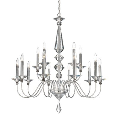 Jasmine 15 Light Chandelier Color: Silver Crystal Color: Optic Black and Clear