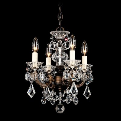 La Scala 4-Light Mini Chandelier Finish / Crystal Color: Parchment Gold / Handcut Clear