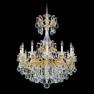 La Scala 12-Light Candle-Style Chandelier Finish / Crystal Color: Antique Silver / Swarovski Clear