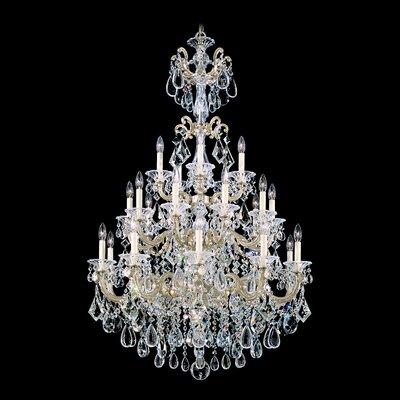 Schonbek La Scala 25 Light Crystal Chandelier - Crystal Type: Heritage Clear, Finish: Roman Silver