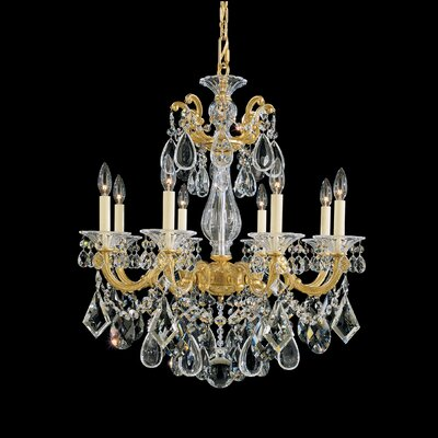 La Scala 8-Light Candle-Style Chandelier Finish / Crystal Color: Antique Silver / Handcut Clear